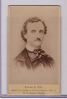 Edgar Allan Poe Antique 1874 Carte-De-Visite Cdv Cabinet Card Photo Poet Macabre