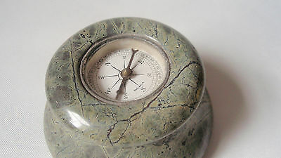Vintage Serpentine desk paperweight with compass - shades of grey