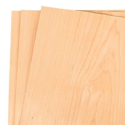 "Maple Wood Veneer Raw/Unbacked 12"" x 12"" (1' x 1') Pack of 3 Sheets"
