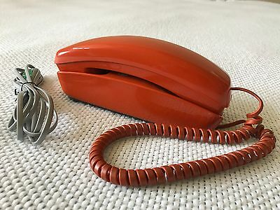 Vintage Western Electric Orange Trimline Touchtone Phone Telephone with Cords