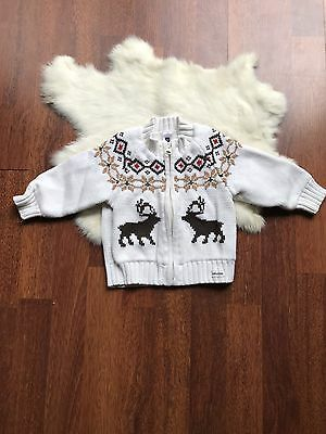 Baby Gap Newborn Size 6-12 Months Cardigan Sweater Crochet Front Zipper