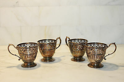 4 Tiffany Sterling Silver Demitasse Cups, 4 Black Starr & Frost Saucers 2 Liners