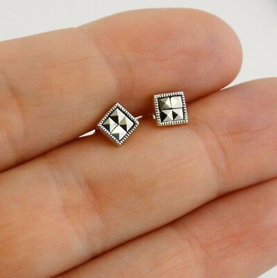Square Marcasite Stud Earrings - 925 Sterling Silver - Post Squares Gift NEW