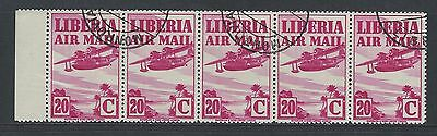 LIBERIA - #C10 - 20c AIRMAIL STRIP OF 5 WITH LEFT TAB (1938) MNH