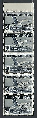 LIBERIA - #C11 - 30c ALBATROSS IN FLIGHT AIRMAIL STRIP OF 5 WITH TAB (1938) MNH