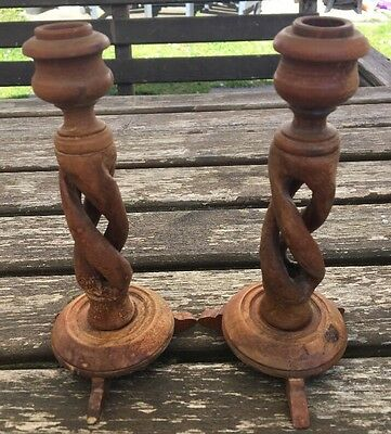 Lovely Vintage Twist & Turn Wooden Candle Sticks
