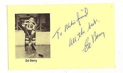 ED BARRY SIGNED 3x5 INDEX CARD AUTOGRAPH NHL 1946-47 BOSTON BRUINS AUTO OLYMPICS