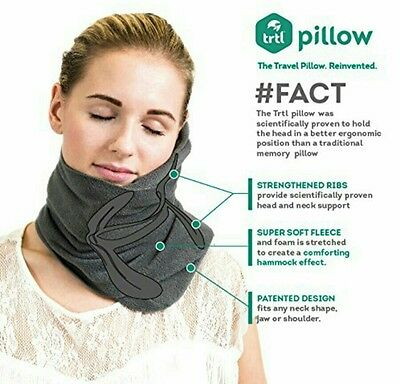 Trtl Pillow - Scientifically Proven Super Soft Neck Support Travel Pillow GREY