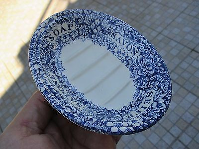Vintage Crabtree & Evelyn London Soap Dish Savon Sapone Dish Blue & White Floral