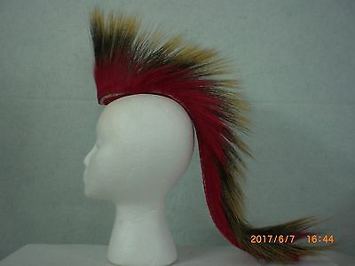 Porcupine Roach, Red 20 inch Out, Red with Red /White Striped Yarn Base