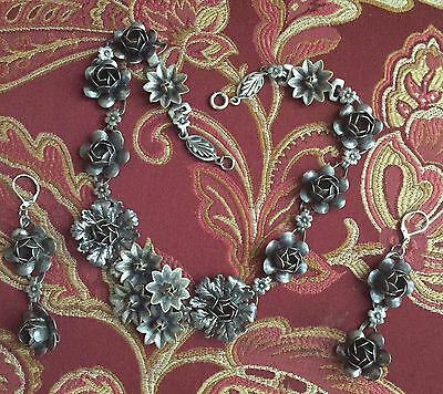 Art Nouveau Coro Sterling Flower Necklace and Earrings