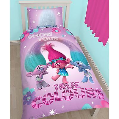 Trolls Glow Single Duvet Cover And Pillowcase Set Panel Design 2 In 1 Reversible
