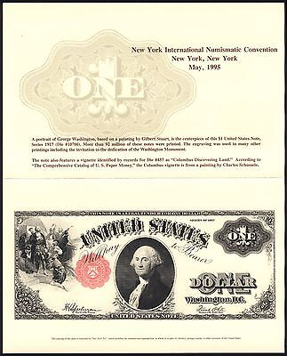 1995 $1 Souvenir Card BEP Stamp NY Numismatic Convention American Dollar