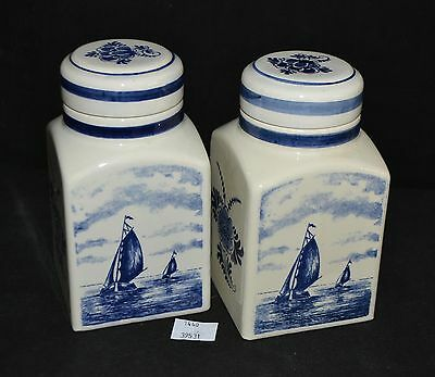 ThriftCHI ~ Delft Holland Hand Painted Ceramic Canister Jars (2)