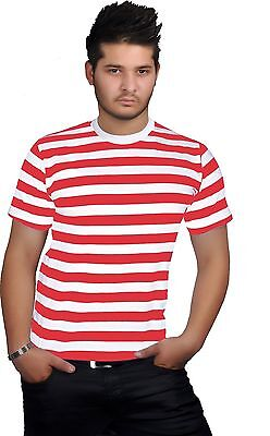 New Men's Strips Crew Round Neck T-Shirt Top Wheres Wally Book Week Day S To Xxl