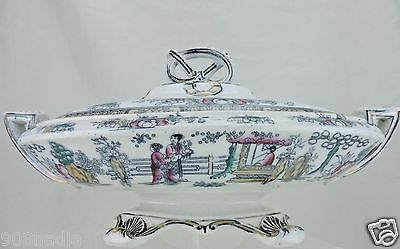 Antique 1880 Gildea Walker Bowl Lid Chinese Tea House English Porcelain Famille