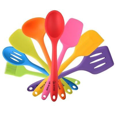 4YANG Silicone Spatula Cooking Utensil Set Heat Resistant Kitchen Gadgets 8...
