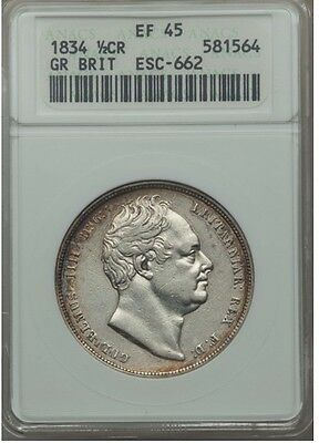 Great Britain  William Iiii 1834 Half-Crown Silver Coin, Certified Anacs Xf-45