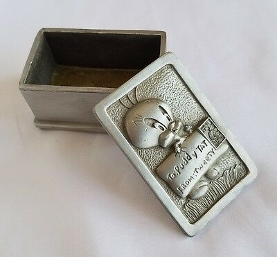 Vintage Looney Tunes Stamp Collection Pewter Box with Tweety Bird 1997 Warner Br
