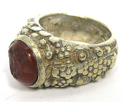 Afghan Ethnic Agate Stone Intaglio Face Man Unisex Ring Size 6 Rma02