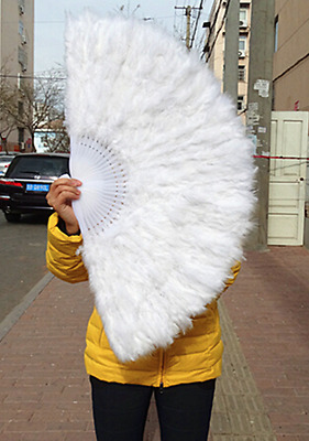 WHITE - Lady Burlesque Wedding Hand Fancy Dress Costume Dance Feather Fan