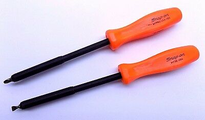 Unused Snap On 2 Pc Non-Conductive Screwdriver Set Phillips and Flat Tip