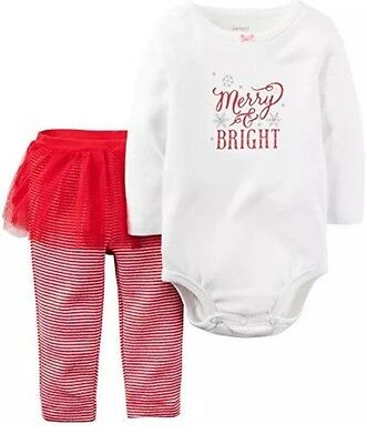 NWT Carter's MERRY and BRIGHT 9M Girl Red White Outfit Pants SKIRT CHRISTMAS