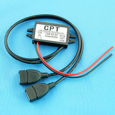 Dual 2 USB DC-DC Car Charger Converter Module 12V To 5V 3A 15W Power Adapter