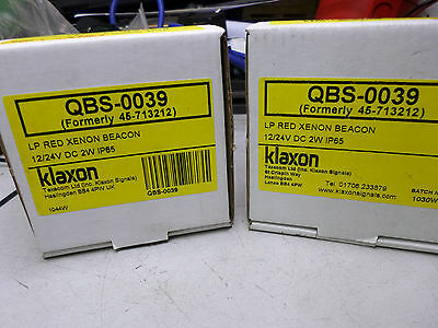 KLAXON LP RED XENON BEACONS - Quantity of 2  -- 12/24DC 2 W IP65 -- QBS-0039