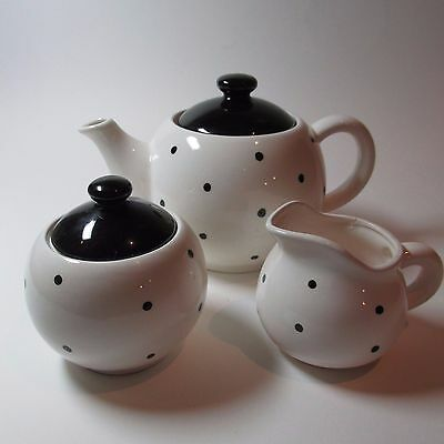 Vintage Retro 1960s 3 piece BW Spot Teapot,Bowl and Jug Japan Mid Century Modern