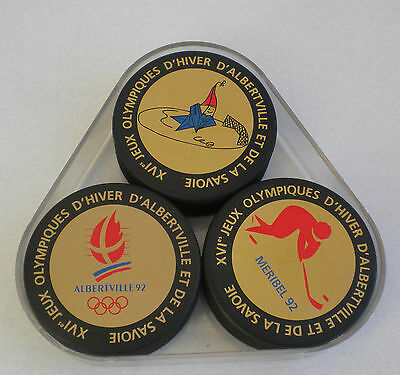rares 3 RONDELLES PUCK TROPHY JEUX OLYMPIQUES ALBERVILLE 1992 HOCKEY PATINAGE