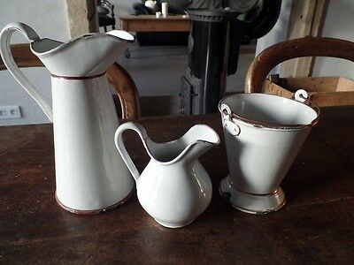 Antique French Enamelware Graniteware White Doll Or Children Toy Set Pitcher