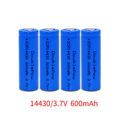 2pcs ICR 14430 Li-ion Rechargeable Battery 600mAh 3.7V US Free Shipping