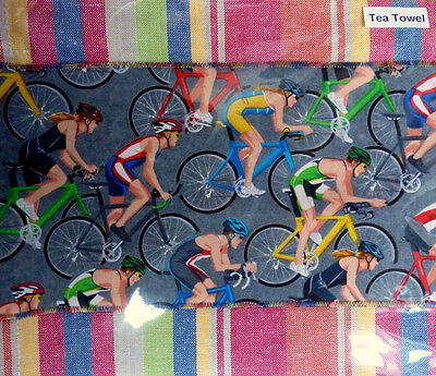 Olympic Marathon Cycling Handmade Cotton Tea Towel