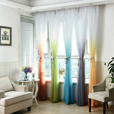 Valances Tulle Voile Door Window Curtain Drape Panel Sheer Scarf Divider Decor