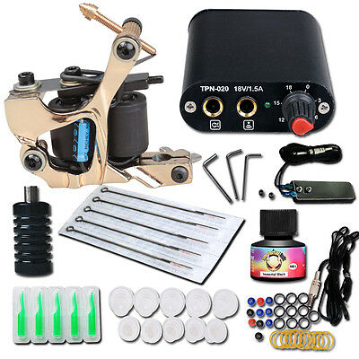 Complete Tattoo Kit needle Machine Guns Power Supply USA Color Ink MGT-18GD-15 q