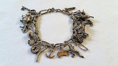 Vintage Sterling Silver 925 Charm Bracelet with 20 Charms