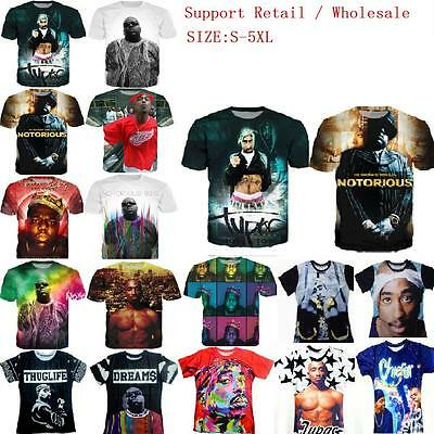 Summer Women/mens TUPAC funny 3D print Short Sleeve Casual T-Shirt tops S-5XL C9