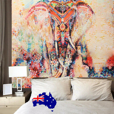 Indian Tapestry Wall Hanging Elephant Mandala Bedspread Beach Ethnic Art ON