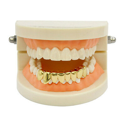 24K Gold Plated High Quality CZ Top & Bottom GRILLZ Mouth Teeth Grills ON