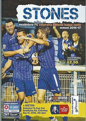Wealdstone v Histon 17th September 2016 FA Cup 2nd Qualifying Round Programme