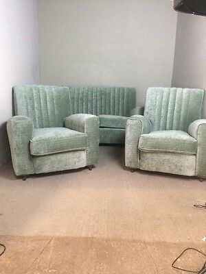 Art Deco Sofa And 2 Armchairs Suite