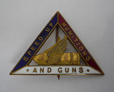 Ww1 Speed Up Muntions And Guns Womens War Service Badge