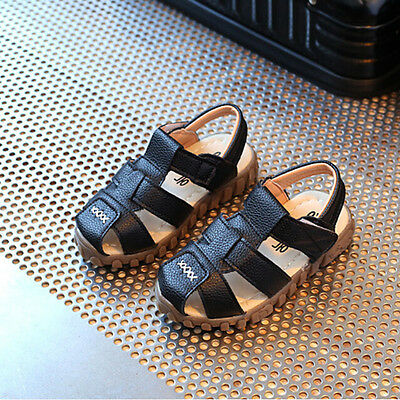 Baby Child Boys Kids Summer Leather Sandals Shoes Soft Sole Hollow High Quality