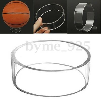 Deluxe Clear Acrylic Ball Display Stand Holder Rugby Football Basketball Soccer