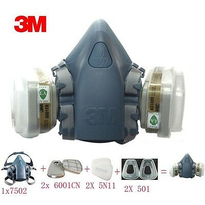 7in1 3M 7502 Suit Half Face Dust Mask Respirator Paint Spray Filter Reusable