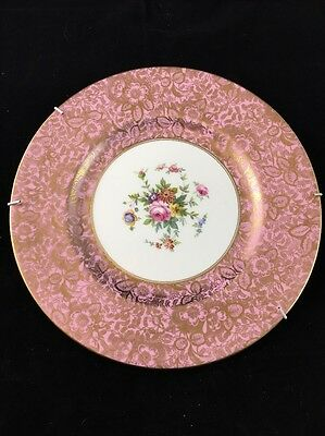 """Minton Brocade Pink And Gold Bone China Plate 10.5"""""""