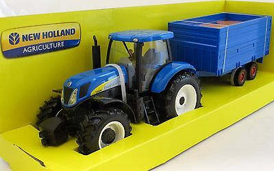 Burago 18-44060 1:32 New Holland T7040 Tractor & Trailer Diecast Farm Model