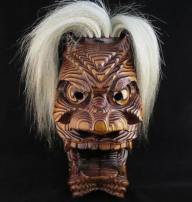 Japanese Traditional Mask Buryu Demon Noh Kagura Samurai Oni hannya Vintage wood
