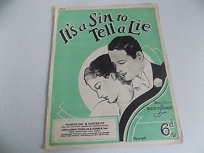 Vtg Booklet Song Sheet Music Piano 1936 It's a Sin to tell a Lie Francis Day Ltd